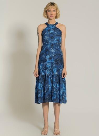 NGSTYLE Tropik Desenli Elbise Mavi